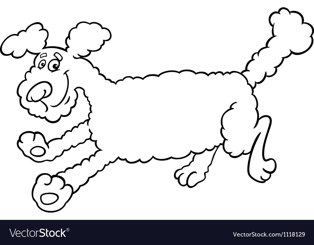 Running poodle cartoon for coloring vector | Price: 1 Credit (USD $1)