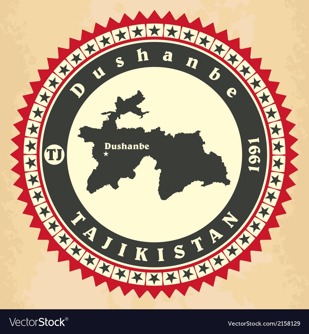 Vintage label-sticker cards of tajikistan vector   Price: 1 Credit (USD $1)