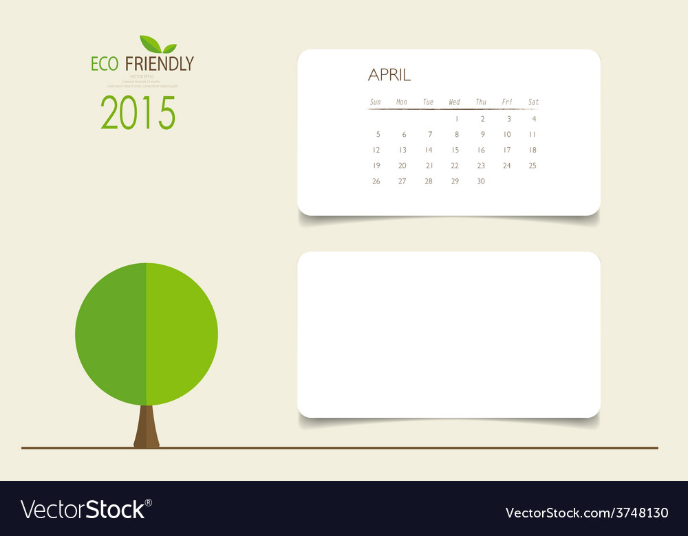 2015 calendar monthly calendar template for april vector | Price: 1 Credit (USD $1)