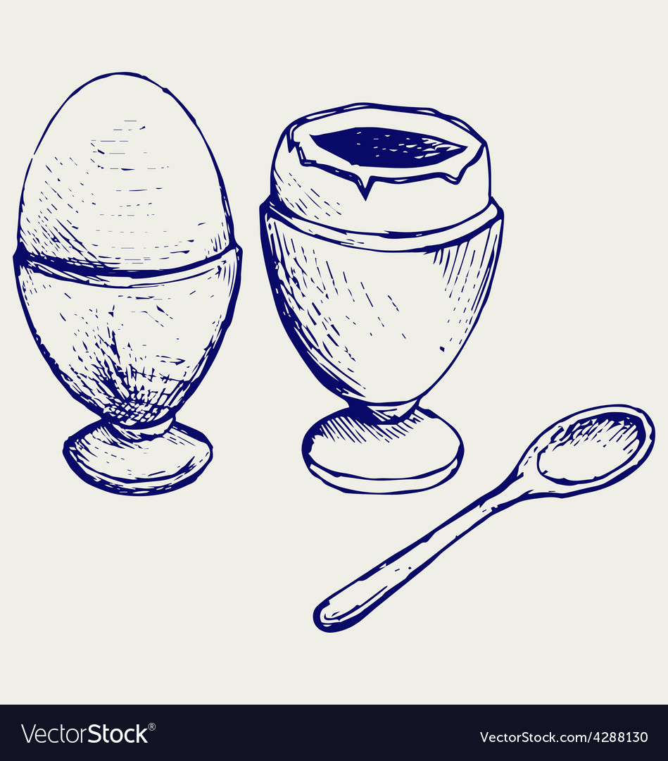 Boiled egg breakfast vector | Price: 1 Credit (USD $1)