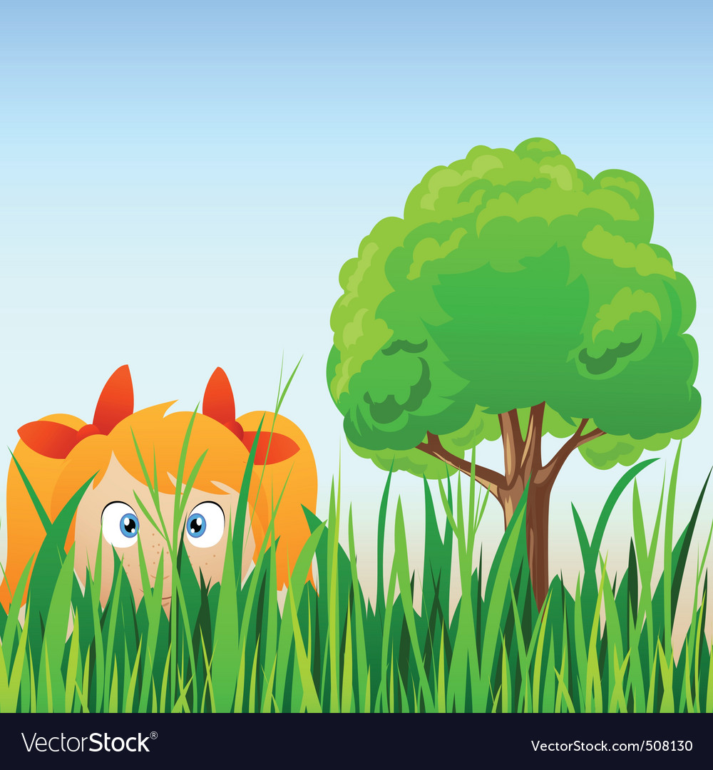 Cartoon little girl hide in grass vector | Price: 1 Credit (USD $1)