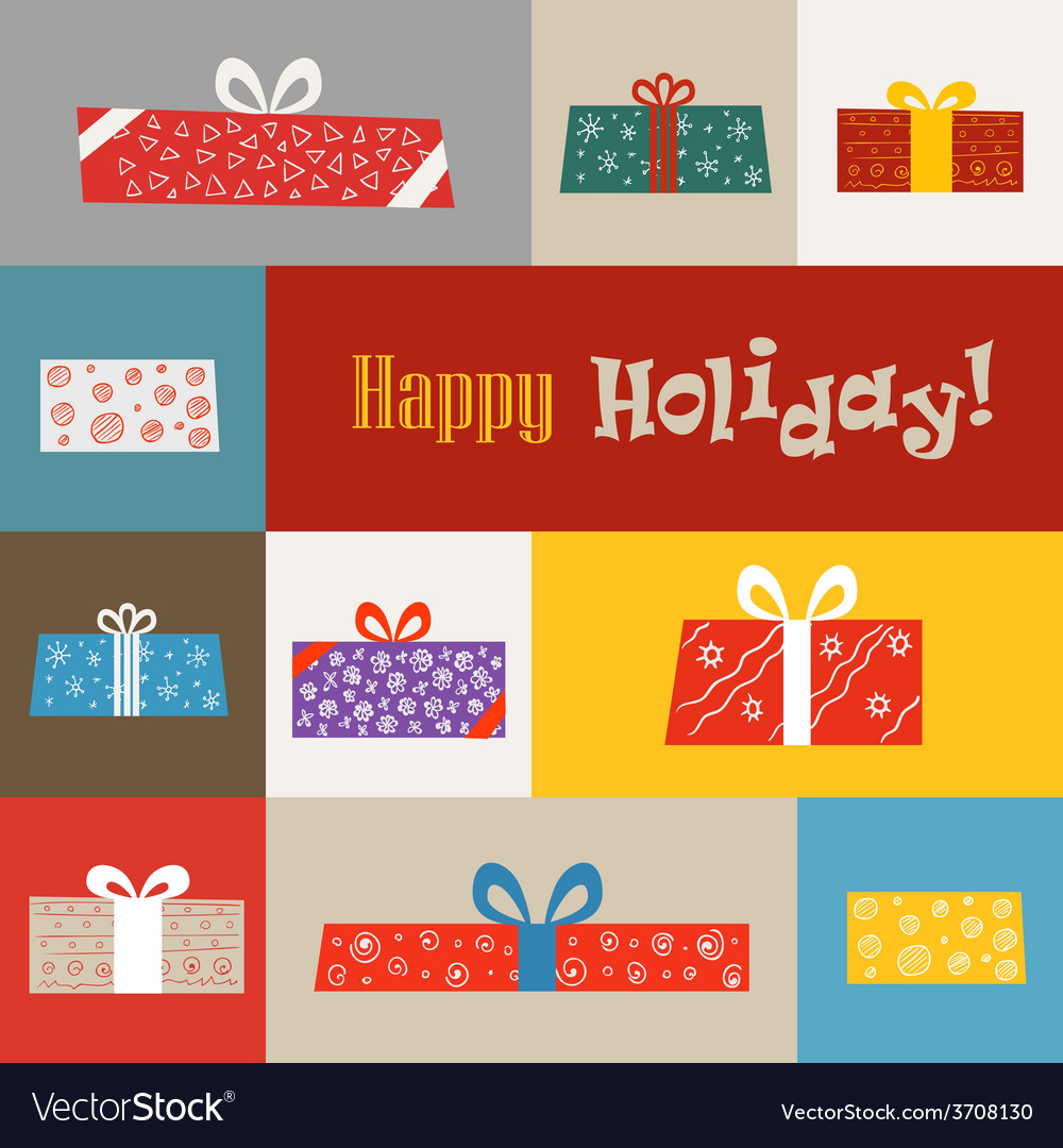 Different gift boxes greeting card vector | Price: 1 Credit (USD $1)