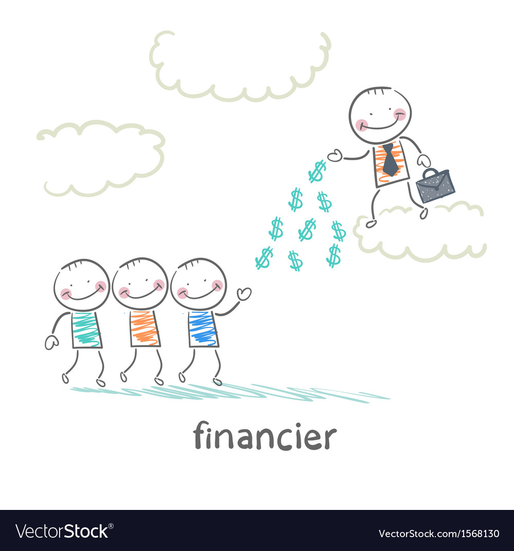 Financier stands on a cloud and throws money to vector | Price: 1 Credit (USD $1)