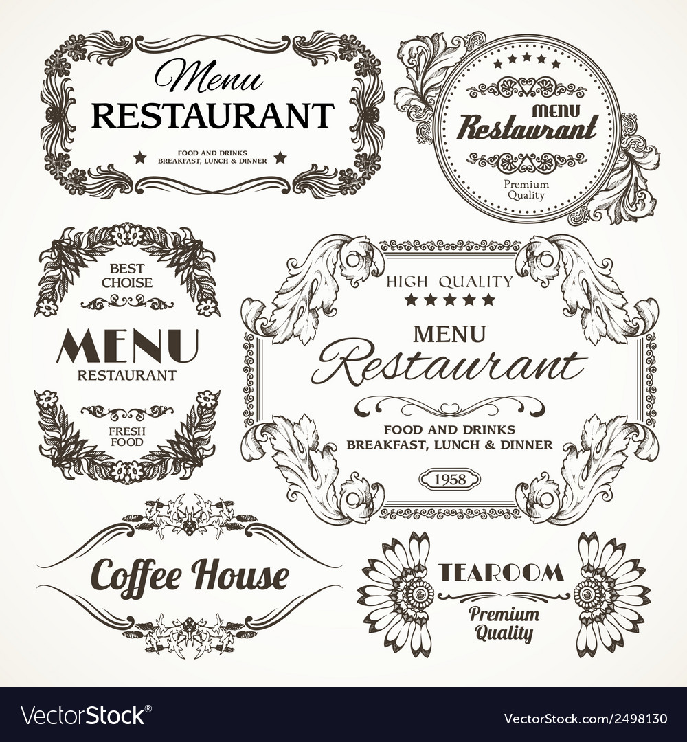Floral restaurant labels vector | Price: 1 Credit (USD $1)