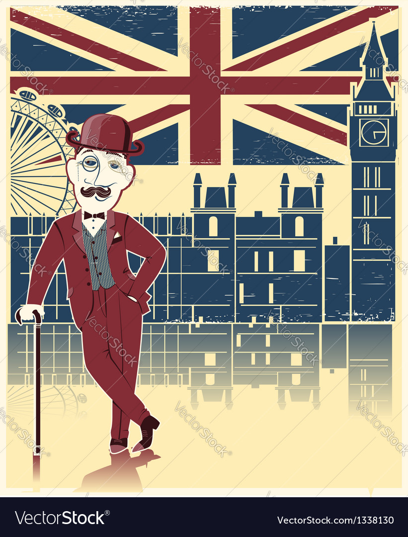 Gentleman with london background vector | Price: 1 Credit (USD $1)