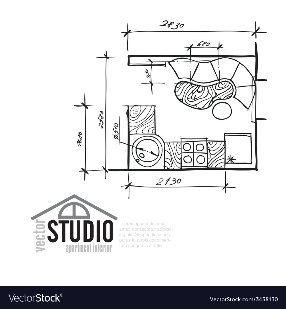 Interior drawing kithen plan vector | Price: 1 Credit (USD $1)