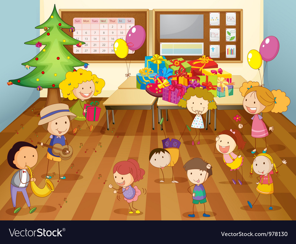 Kids dancing in classroom vector | Price: 3 Credit (USD $3)