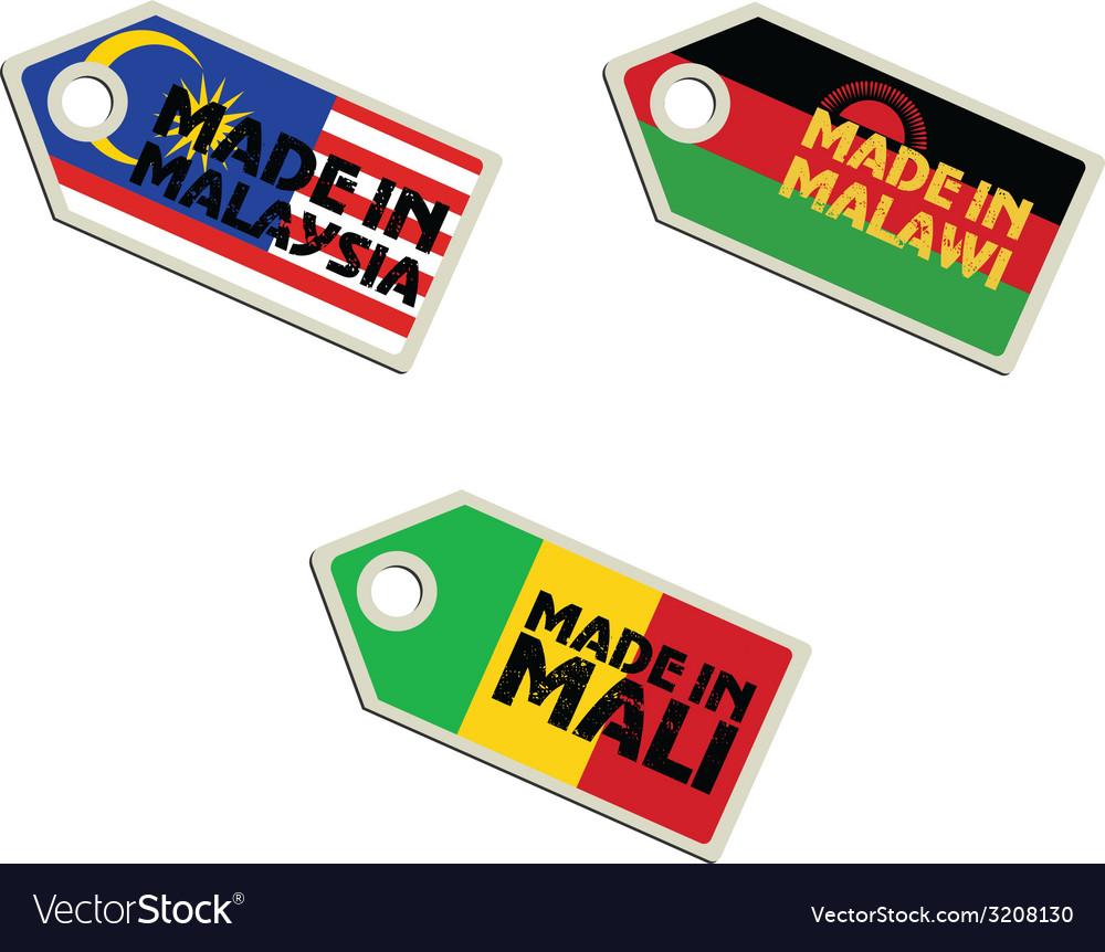 Label made in malaysia malawi mali vector | Price: 1 Credit (USD $1)