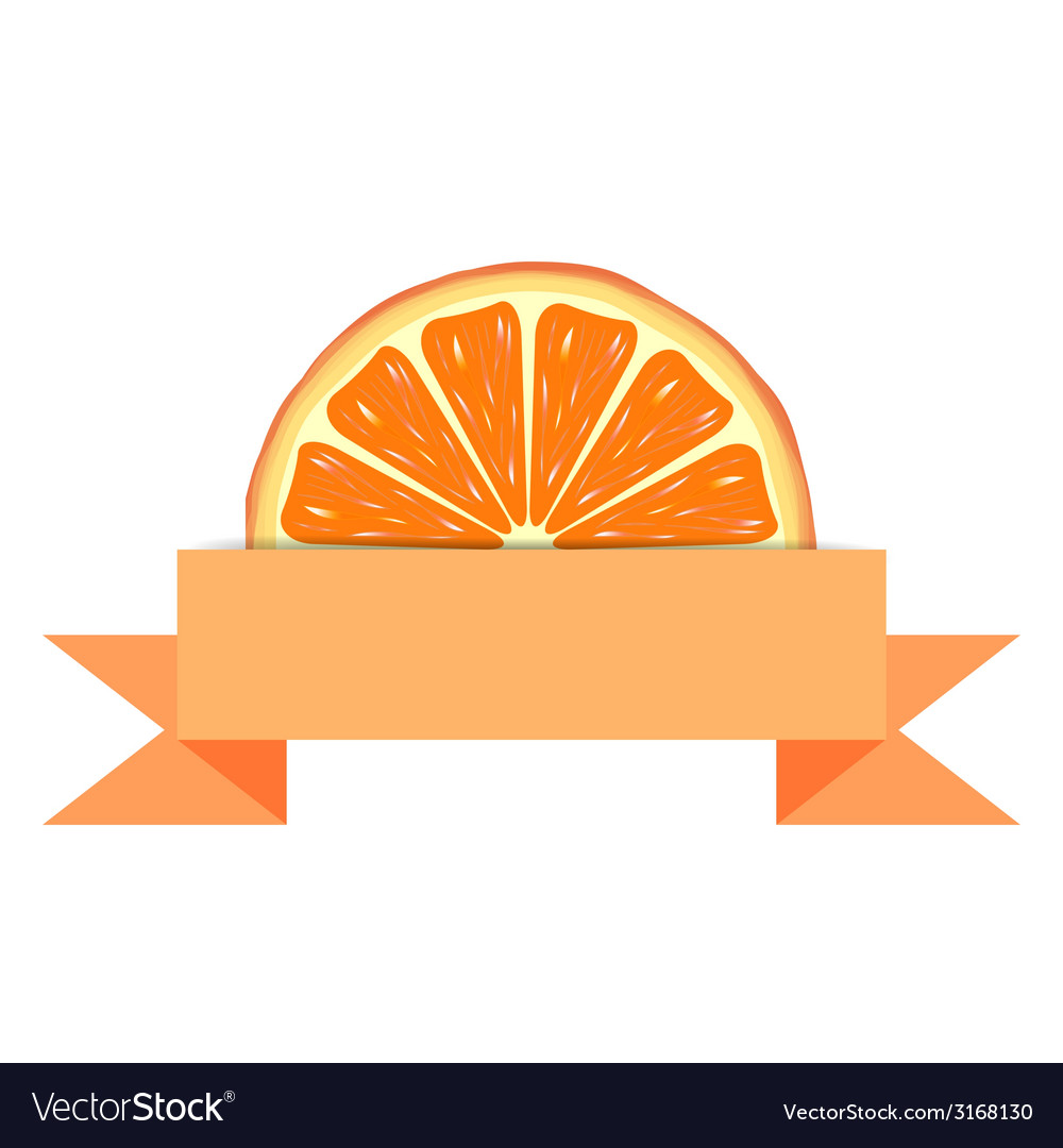 Orange slice with paper banner vector | Price: 1 Credit (USD $1)