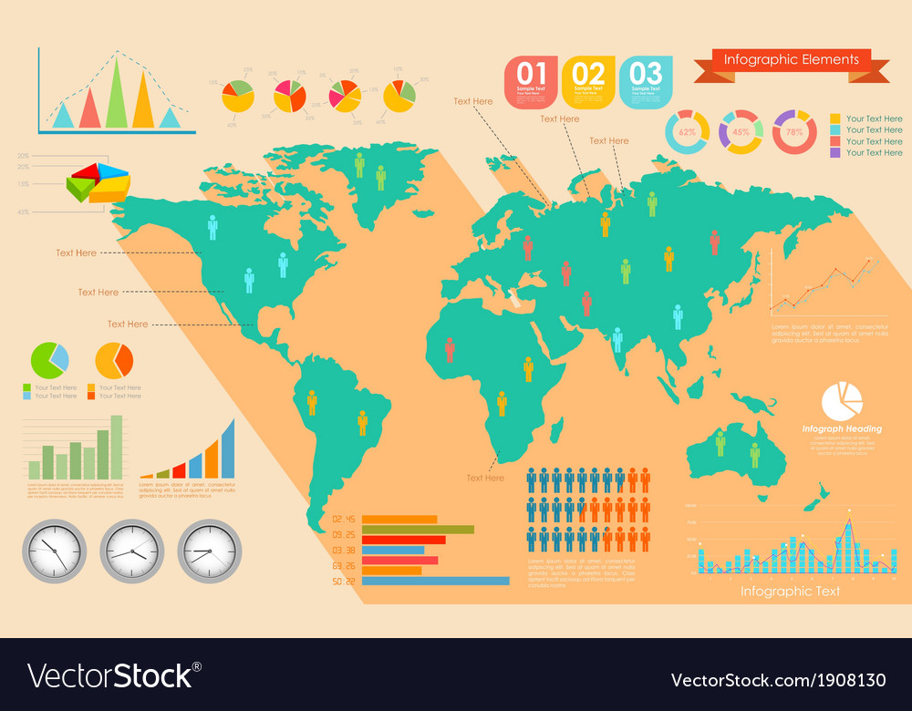 World map infographics vector   Price: 1 Credit (USD $1)