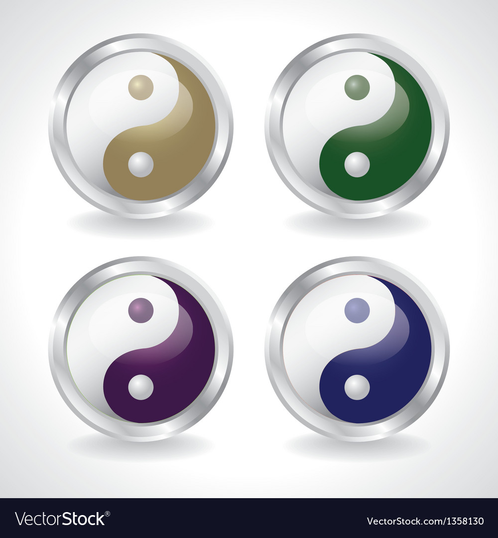 Ying yang buttons vector | Price: 1 Credit (USD $1)