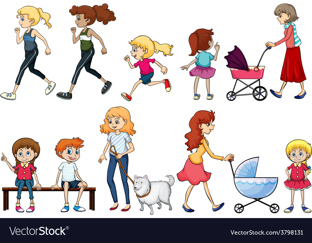 A group of young and adult ladies vector | Price: 1 Credit (USD $1)