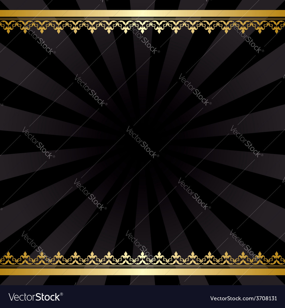 Background with gold decorations and rays - black vector | Price: 1 Credit (USD $1)
