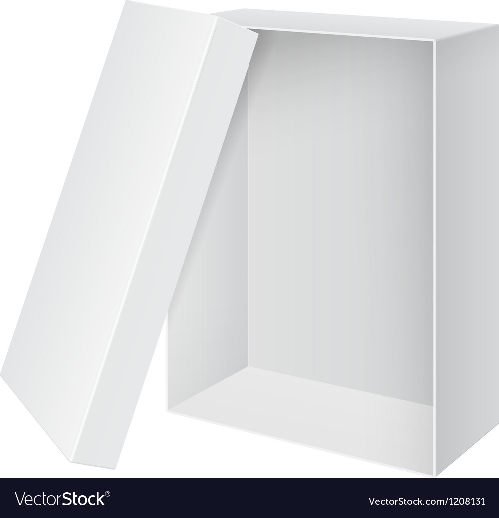 Cool realistic white blank package box opened with vector | Price: 1 Credit (USD $1)