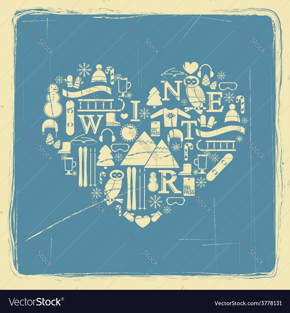 Heart from winter icons vintage vector   Price: 1 Credit (USD $1)