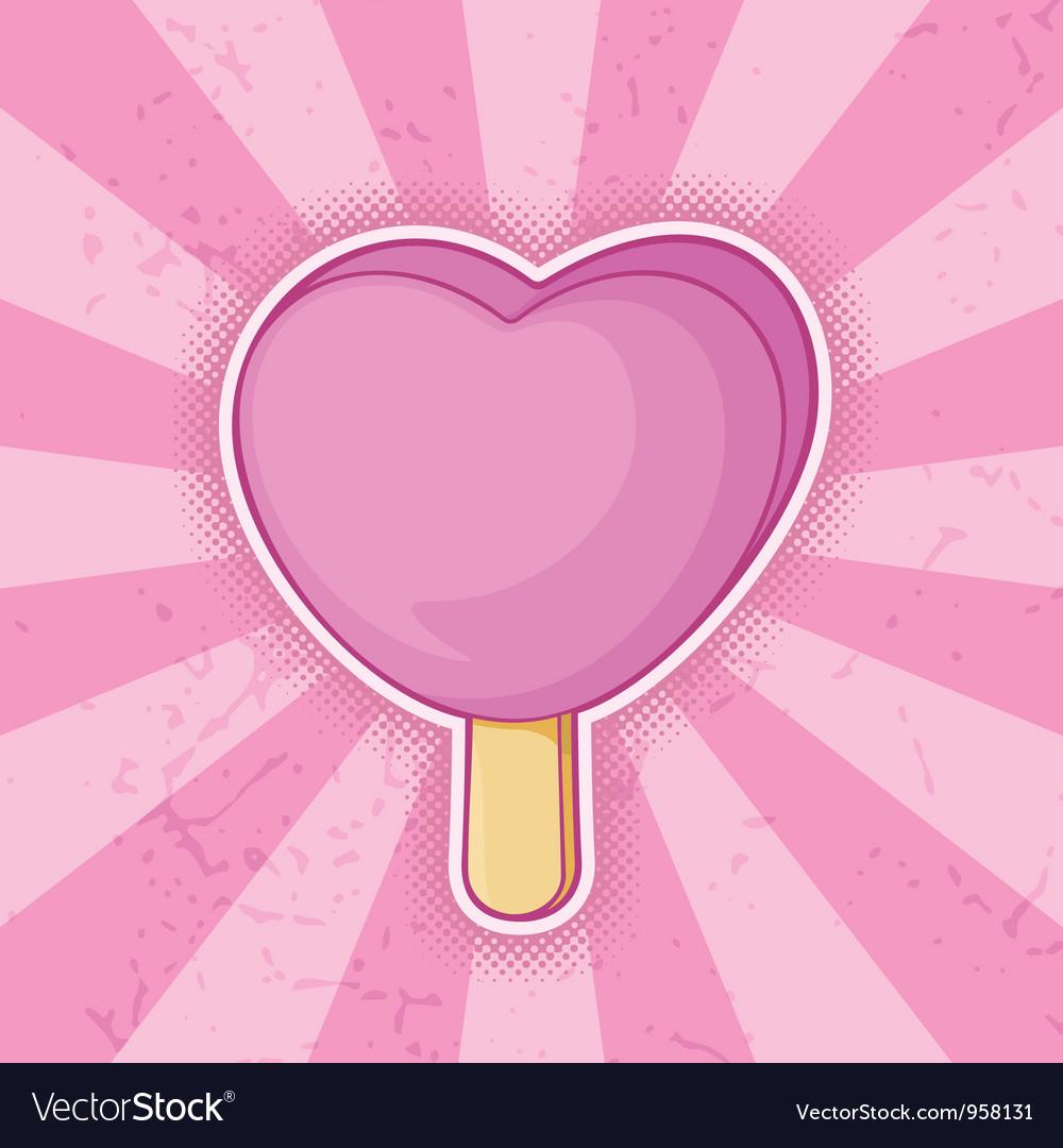 Icecream pink heart vector