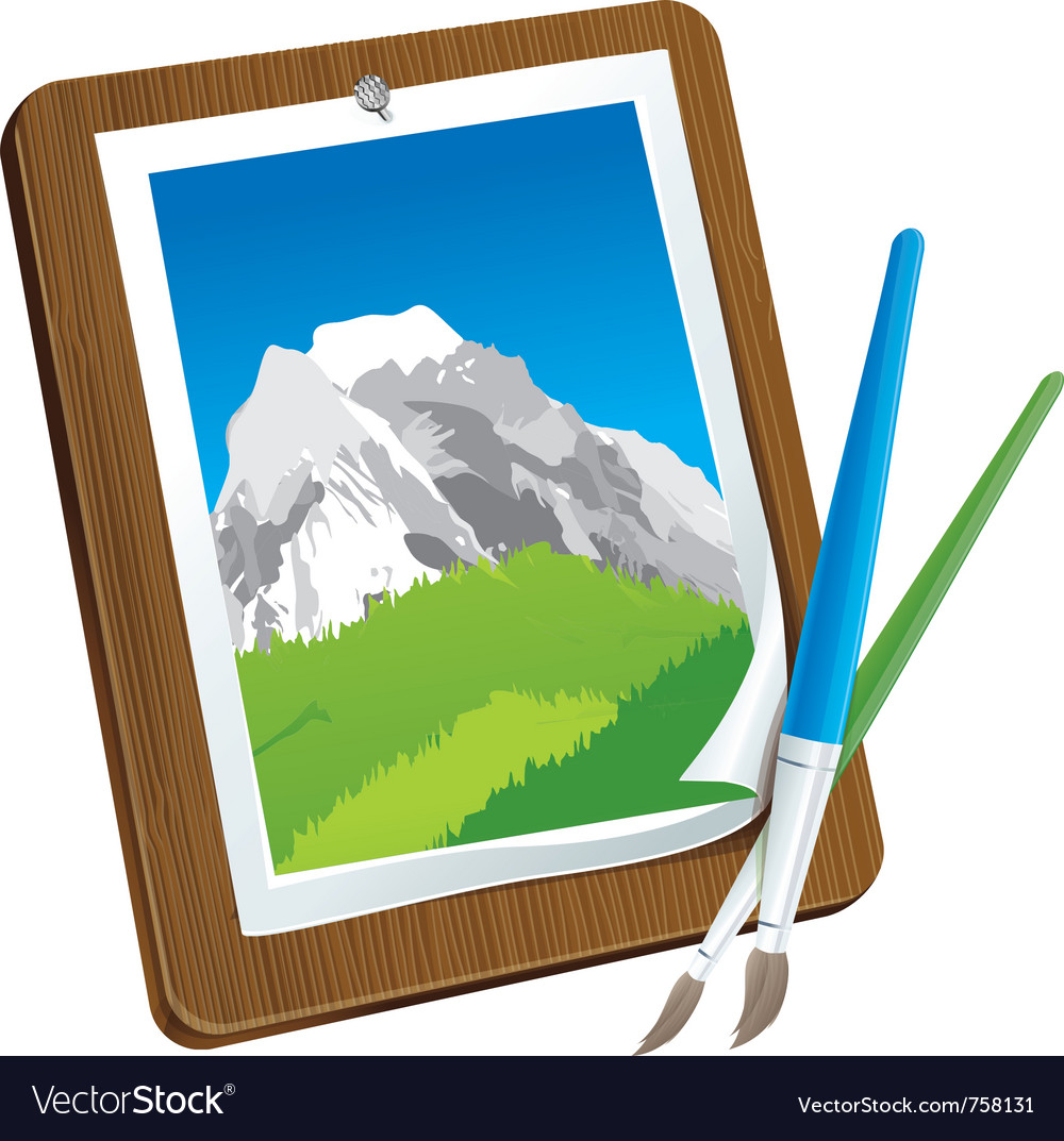 Picture on wooden board with brush - creative conc vector | Price: 1 Credit (USD $1)