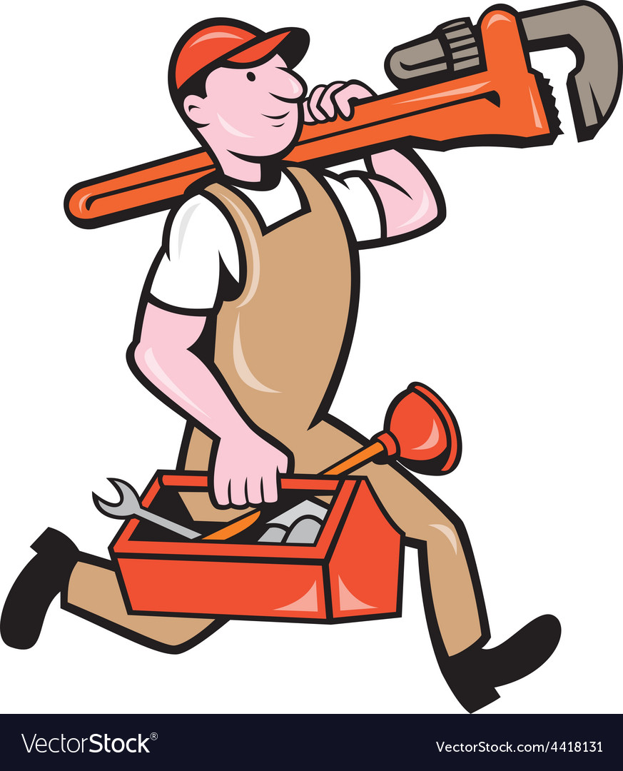 Plumber carrying monkey wrench toolbox running vector