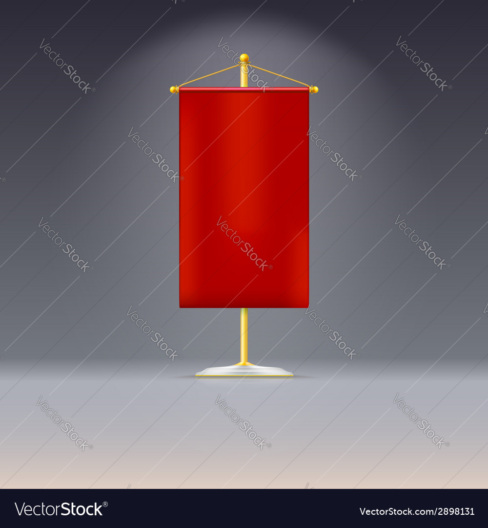 Red pennant or flag on yellow base with vector | Price: 1 Credit (USD $1)