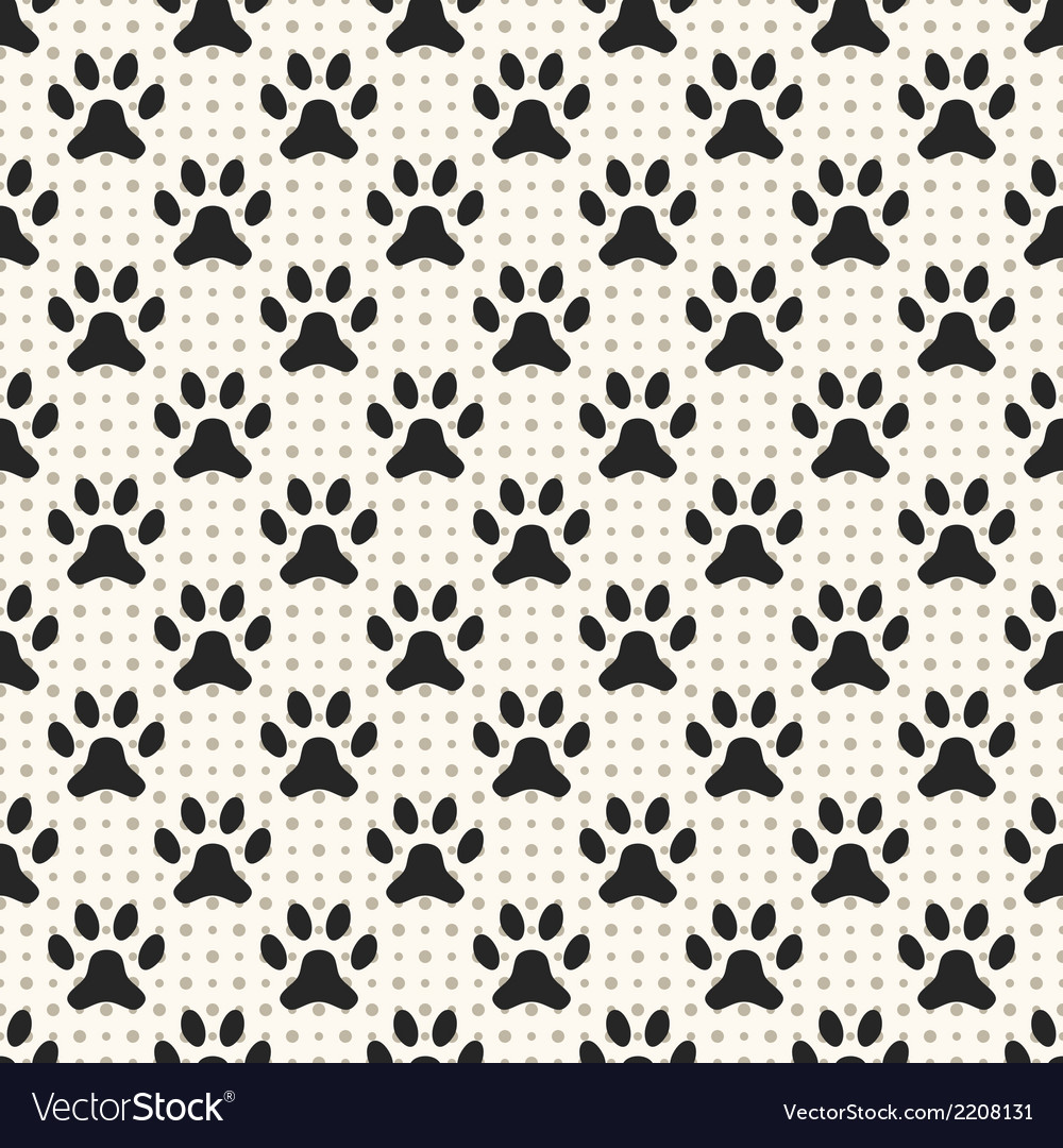 Seamless animal pattern of paw footprint and dot vector | Price: 1 Credit (USD $1)