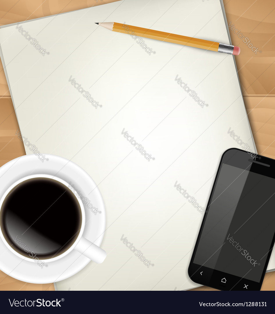 Sheets of paper pencil cup of coffee and vector | Price: 1 Credit (USD $1)