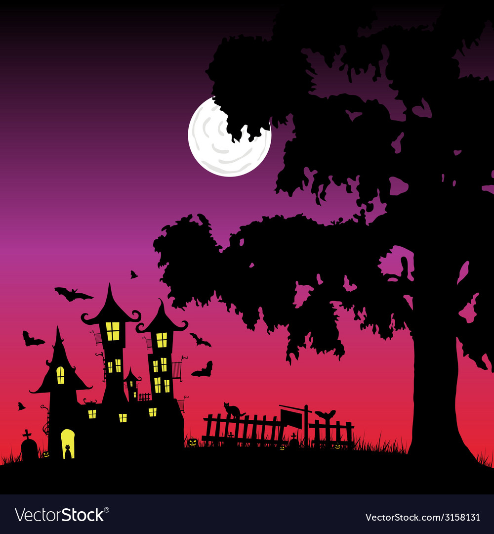 Sweet and beauty castle with bats part three vector | Price: 1 Credit (USD $1)