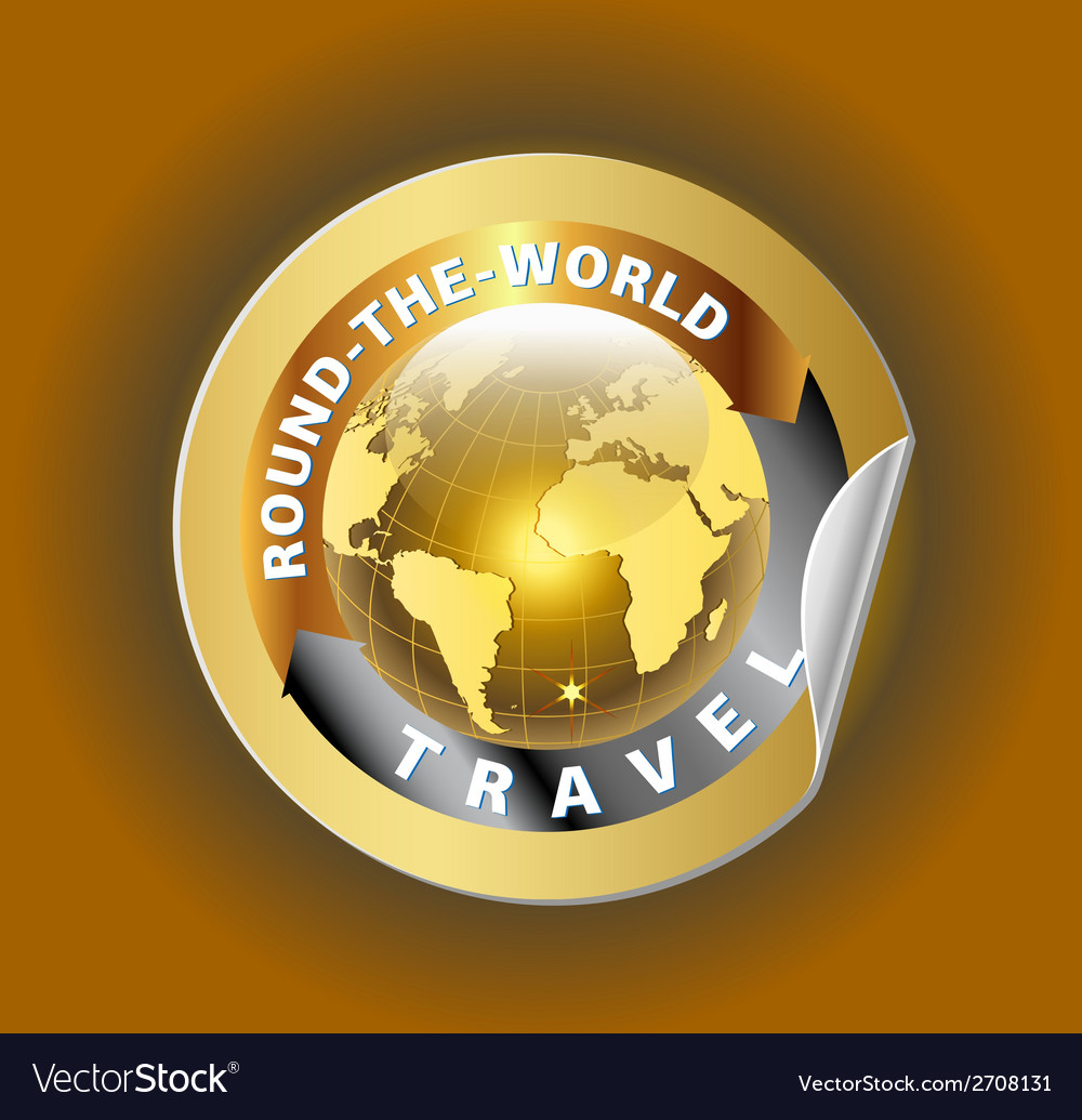 Travel round the world symbol with golden globe sy vector | Price: 1 Credit (USD $1)