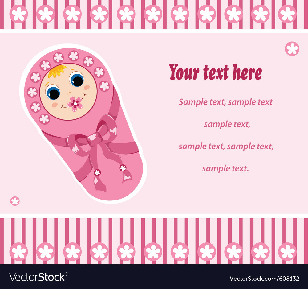 Baby girl card 2 vector | Price: 1 Credit (USD $1)