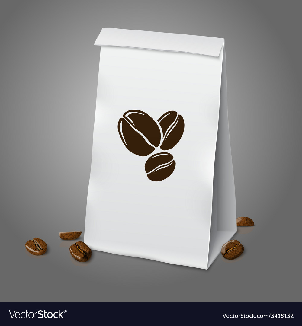 Blank white realistic paper packaging coffee bag vector | Price: 1 Credit (USD $1)