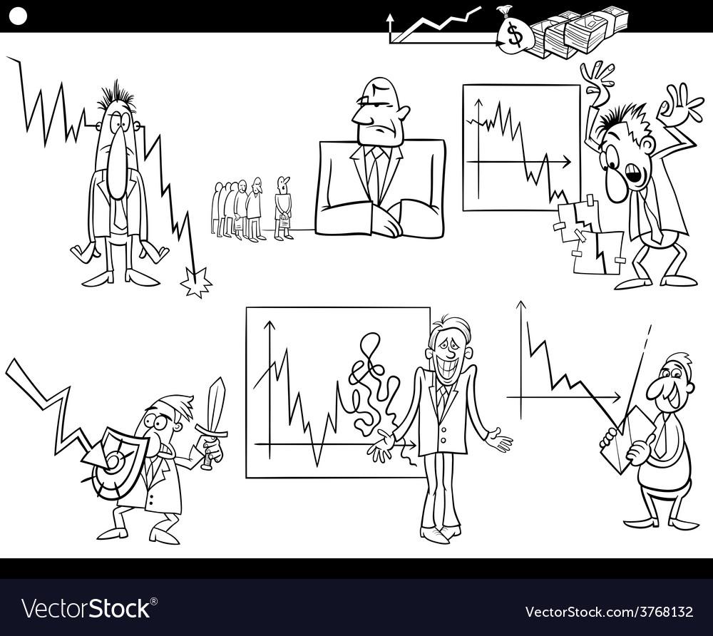 Business cartoon crisis concepts set vector   Price: 1 Credit (USD $1)