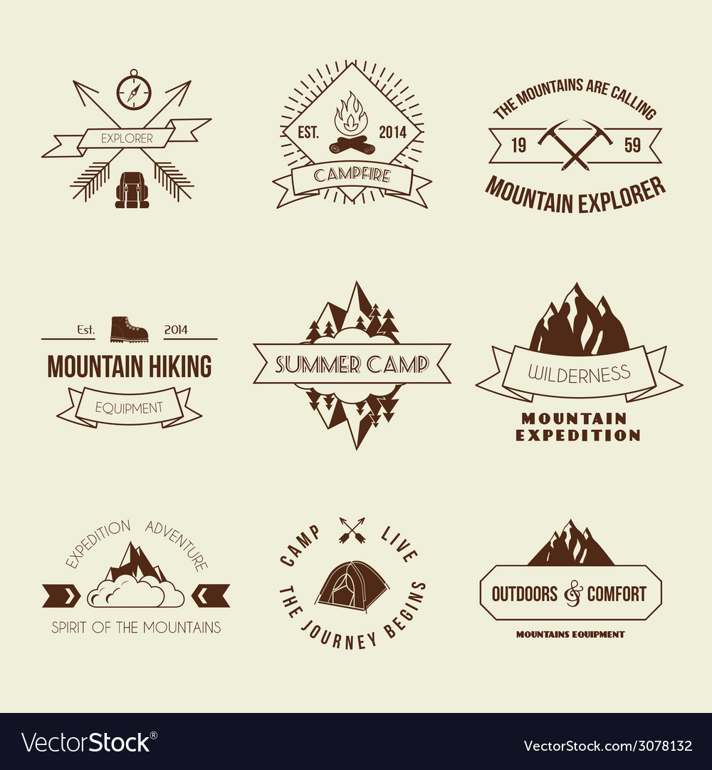 Camping labels set vector | Price: 1 Credit (USD $1)