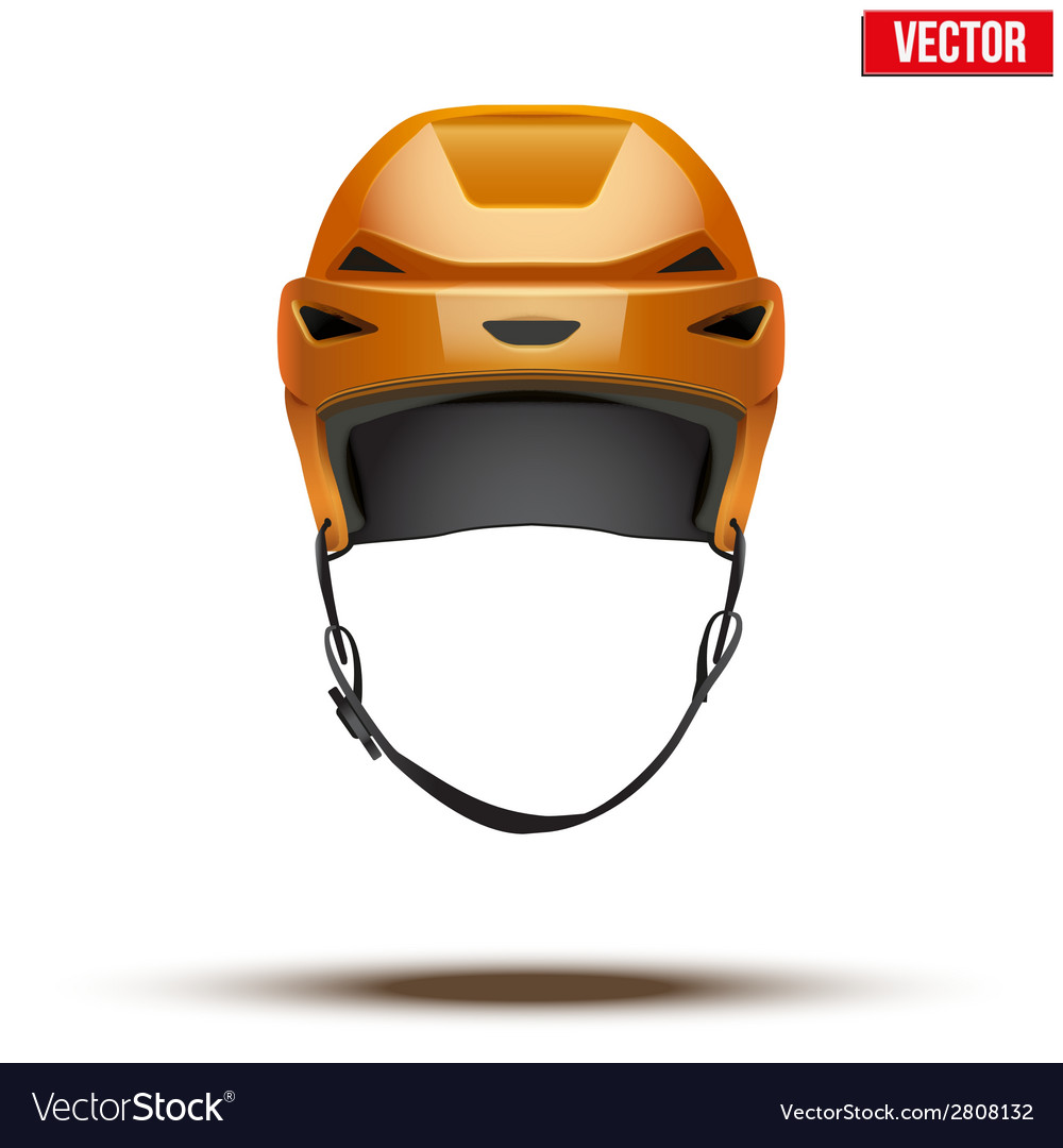 Classic orange hockey helmet isolated on vector | Price: 1 Credit (USD $1)
