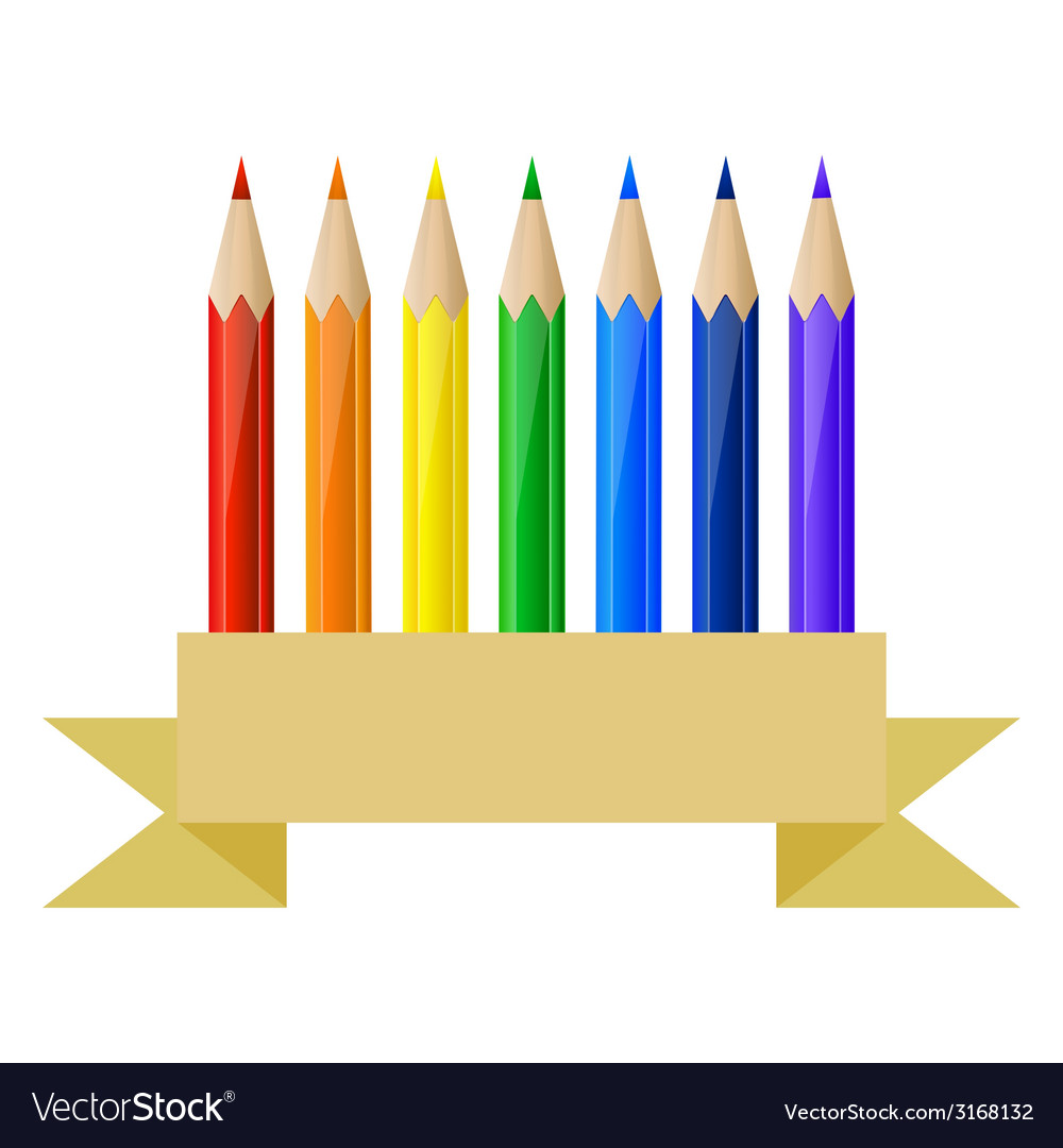 Colored pencils and paper banner vector | Price: 1 Credit (USD $1)
