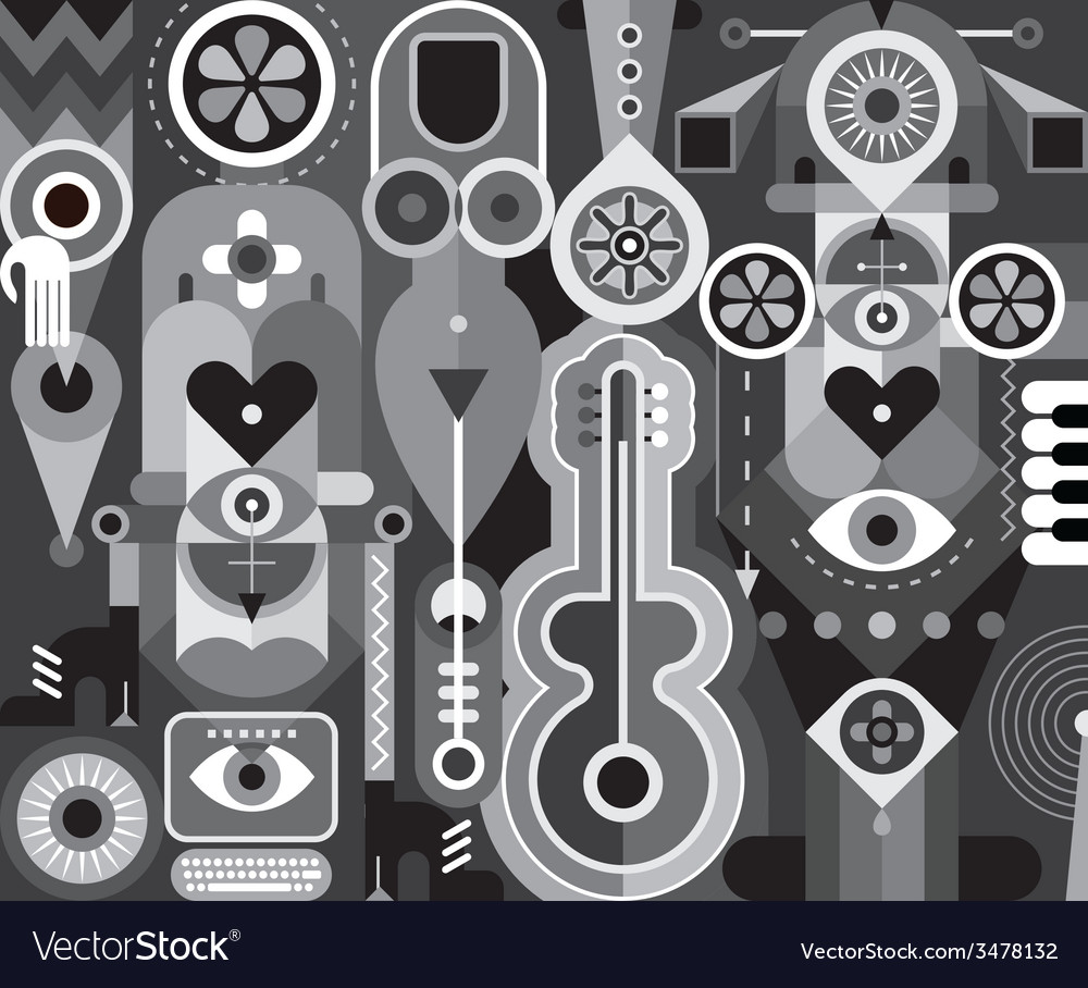 Grayscale abstract composition vector | Price: 3 Credit (USD $3)
