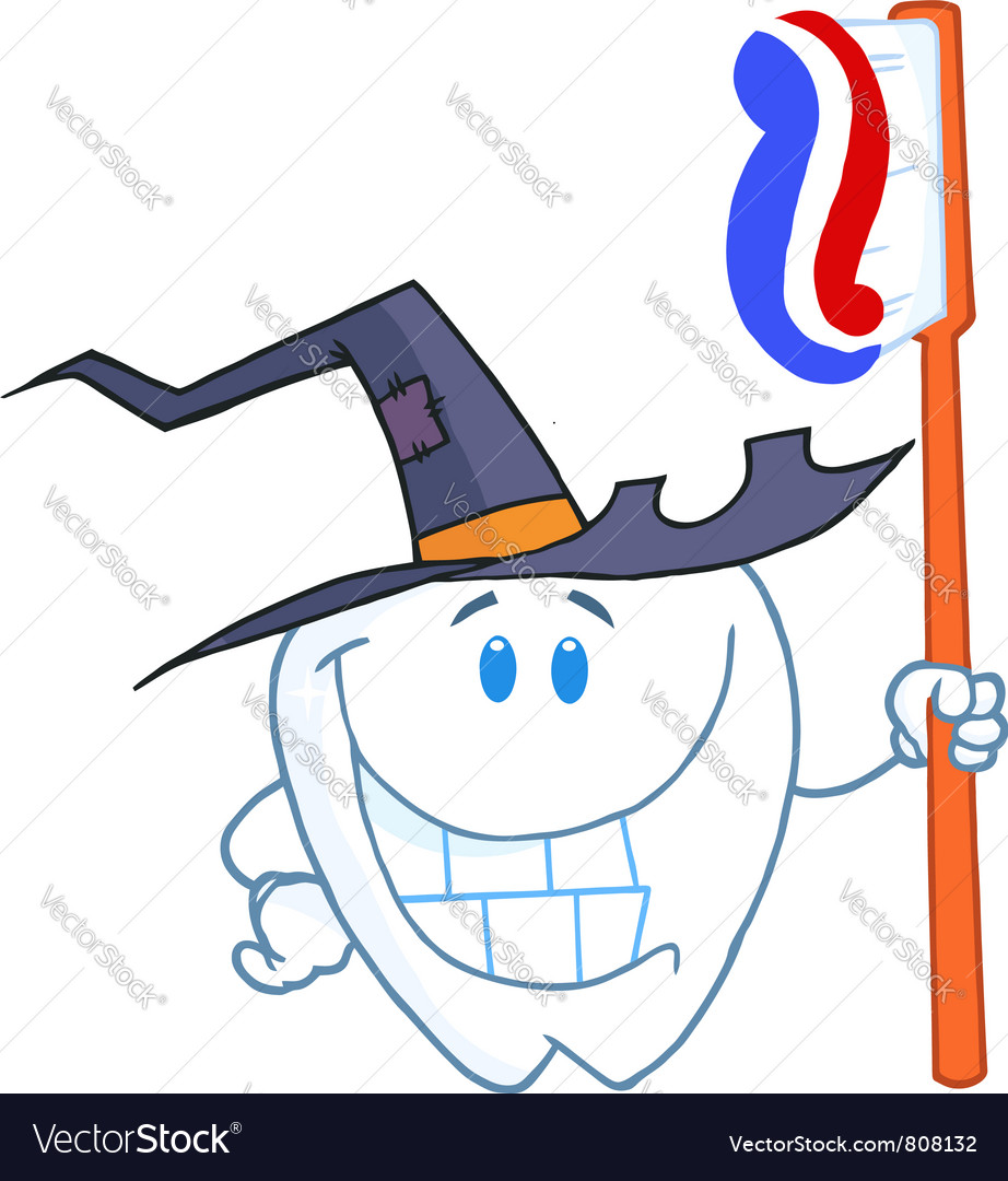 Happy smiling halloween tooth with toothbrush vector | Price: 1 Credit (USD $1)