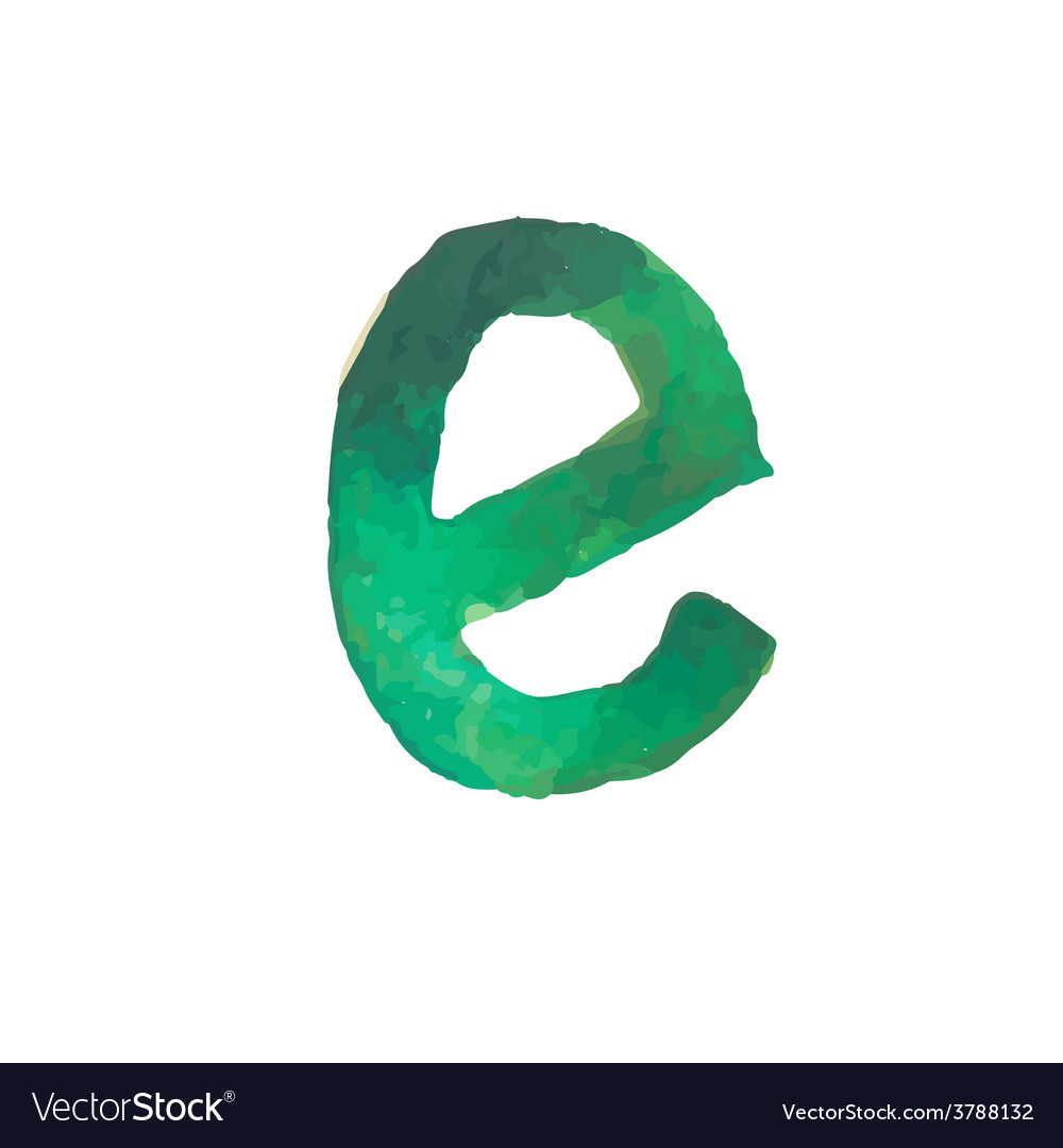 Letter e colorful watercolor aquarelle font type vector | Price: 1 Credit (USD $1)
