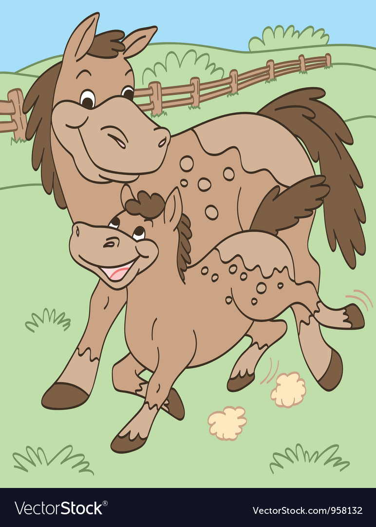 Mother and baby horses vector | Price: 1 Credit (USD $1)