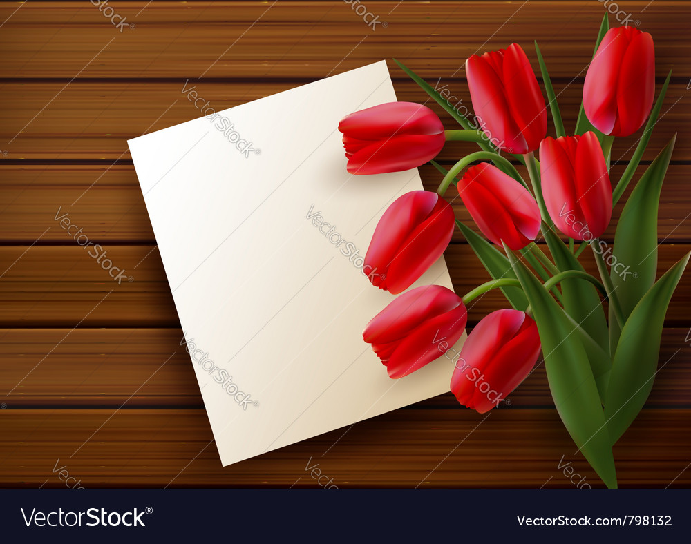 Red tulip card vector | Price: 1 Credit (USD $1)
