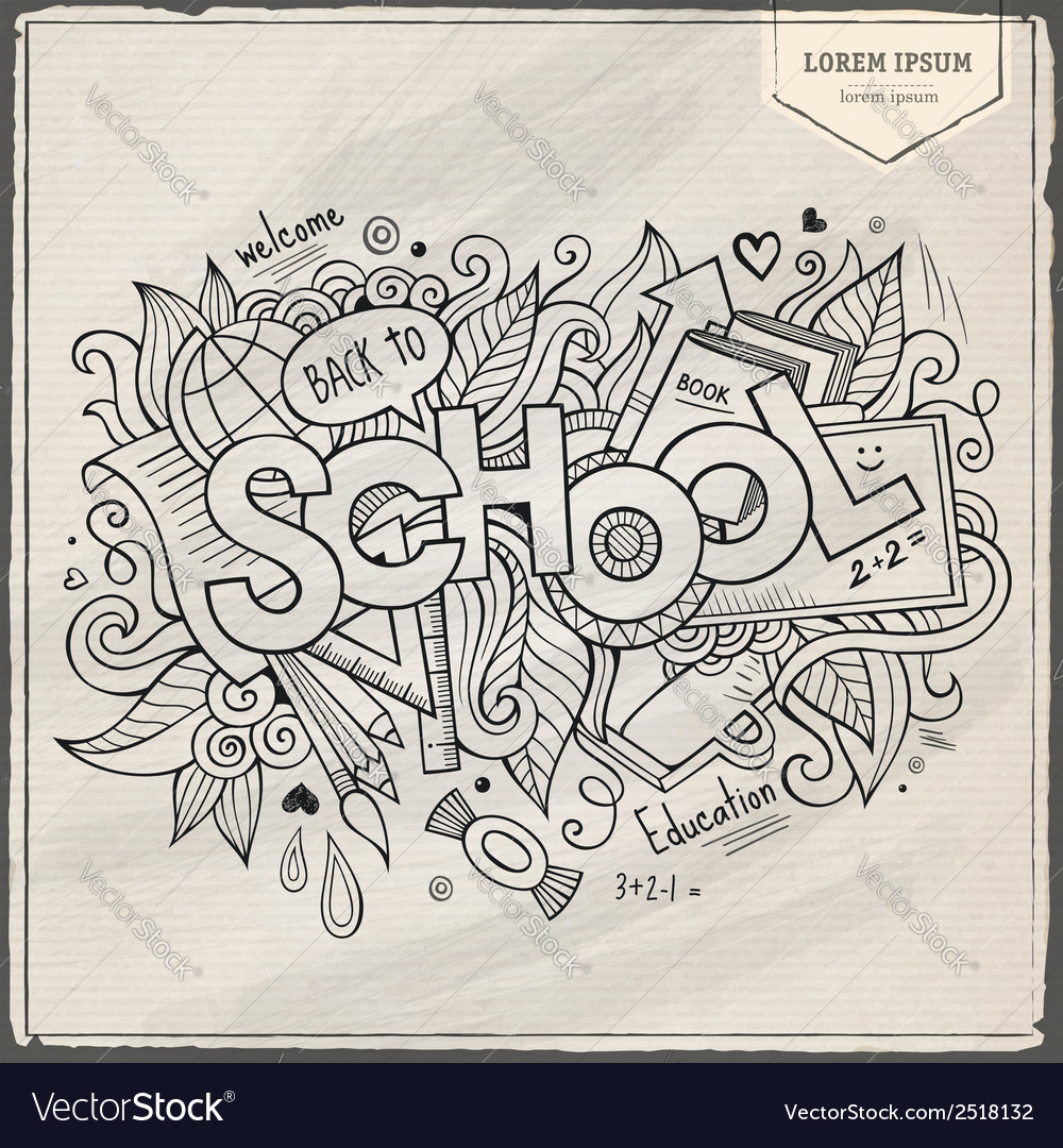 School hand lettering and doodles elements vector | Price: 1 Credit (USD $1)