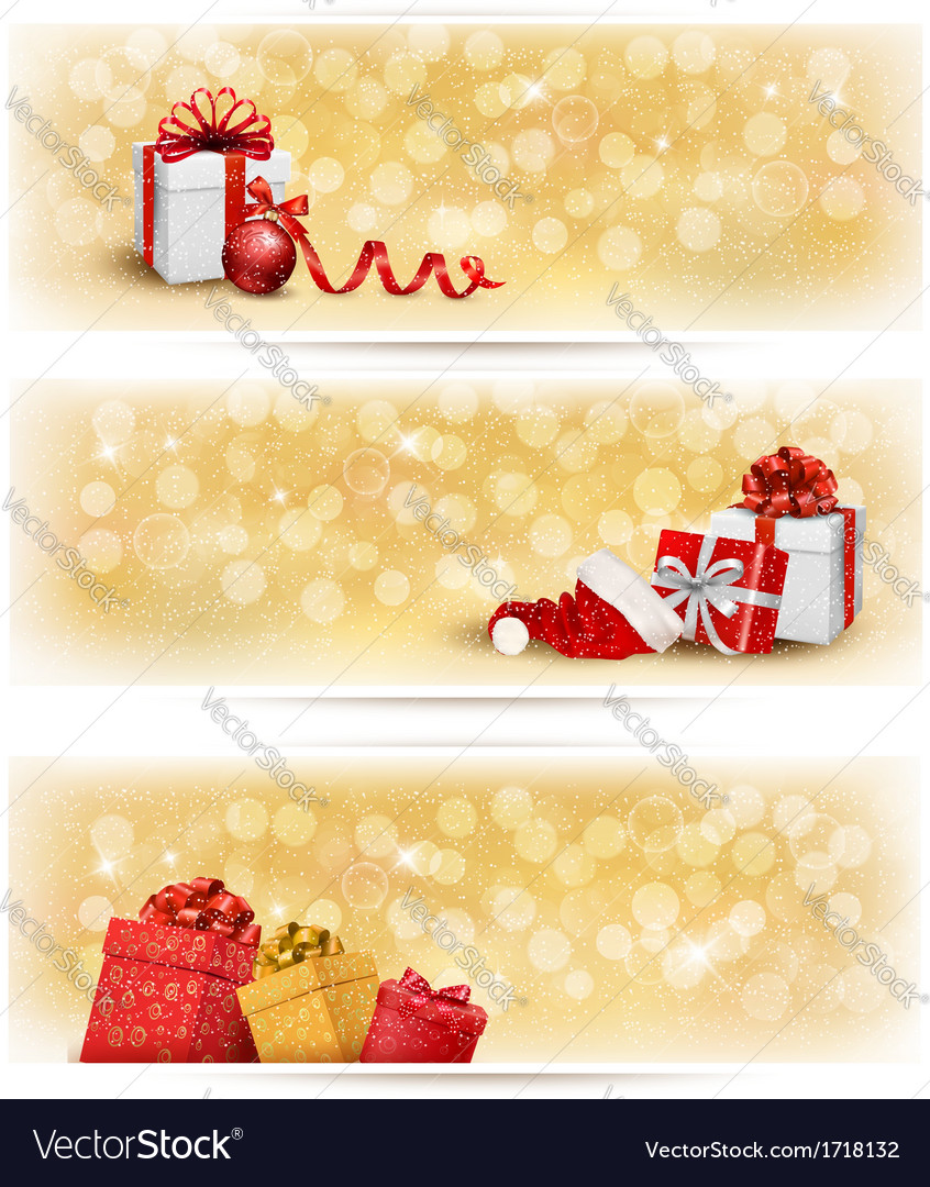 Set of holiday christmas banners with gift boxes vector | Price: 1 Credit (USD $1)