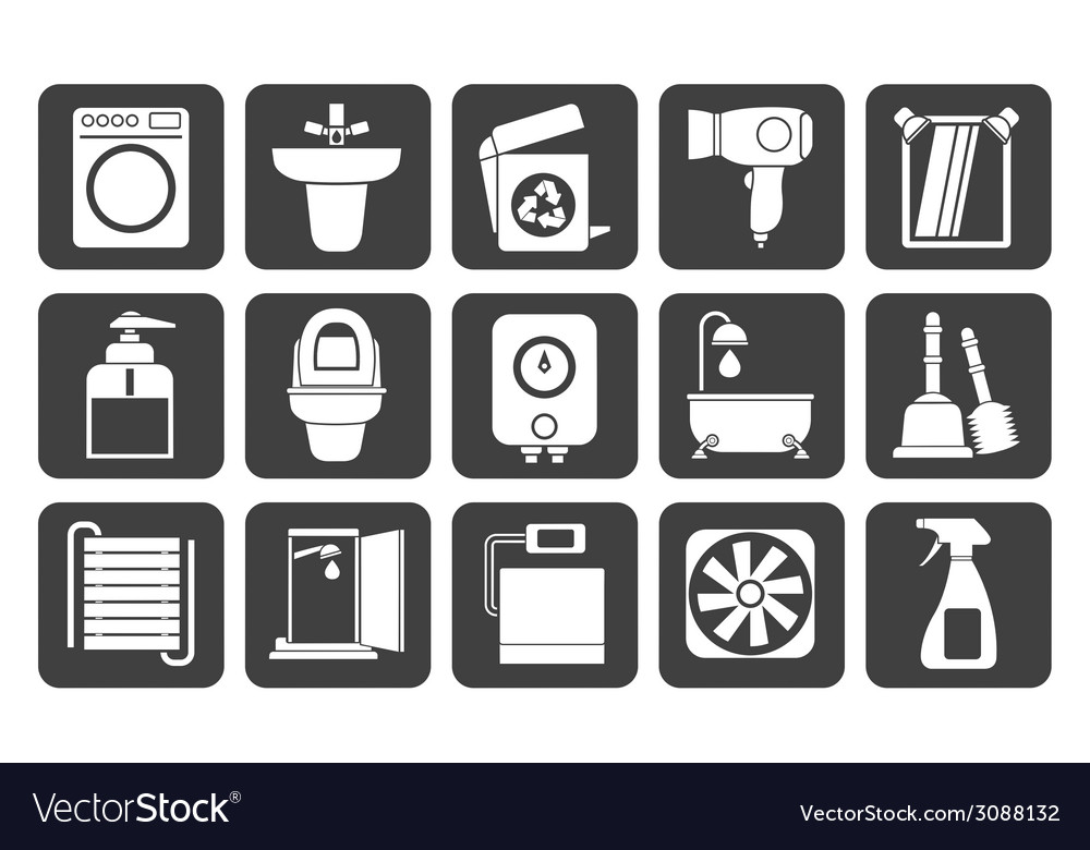 Silhouette bathroom and toilet objects and icons vector | Price: 1 Credit (USD $1)