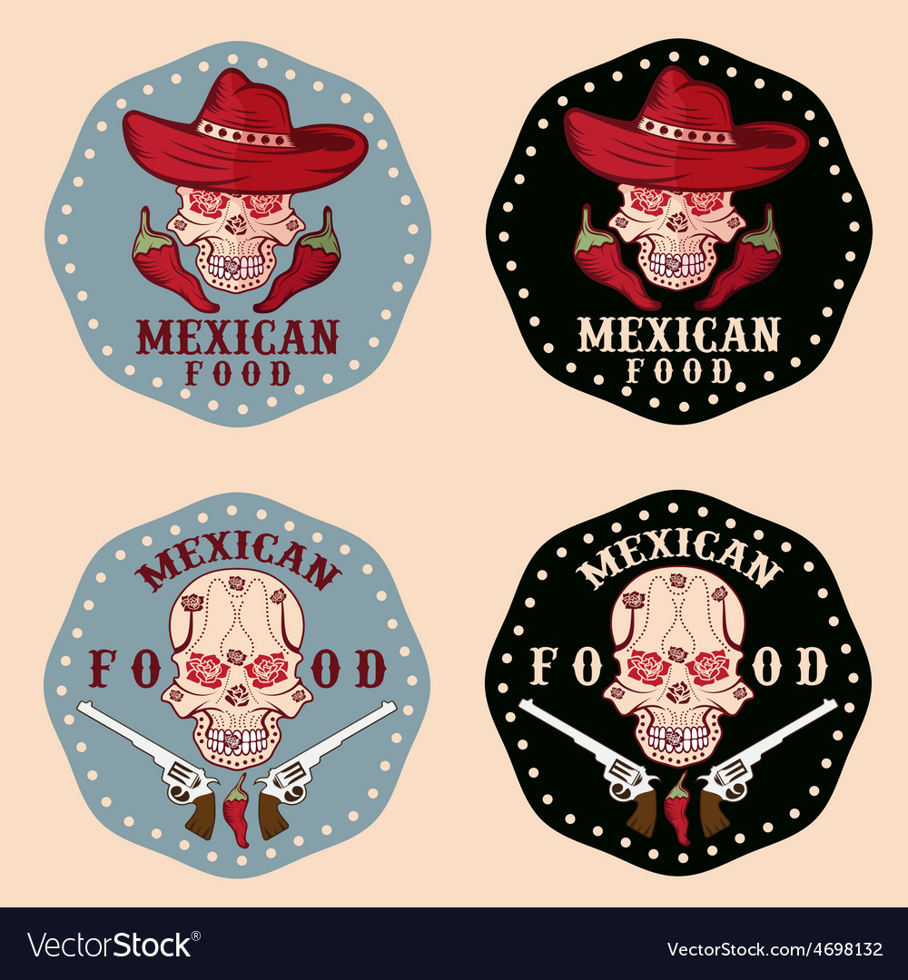 Skull in a mexican sombrero with chili vector | Price: 1 Credit (USD $1)