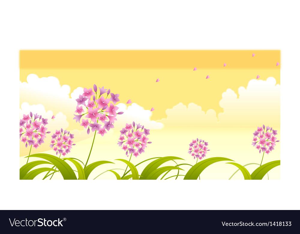 Allium flower against sky vector | Price: 1 Credit (USD $1)