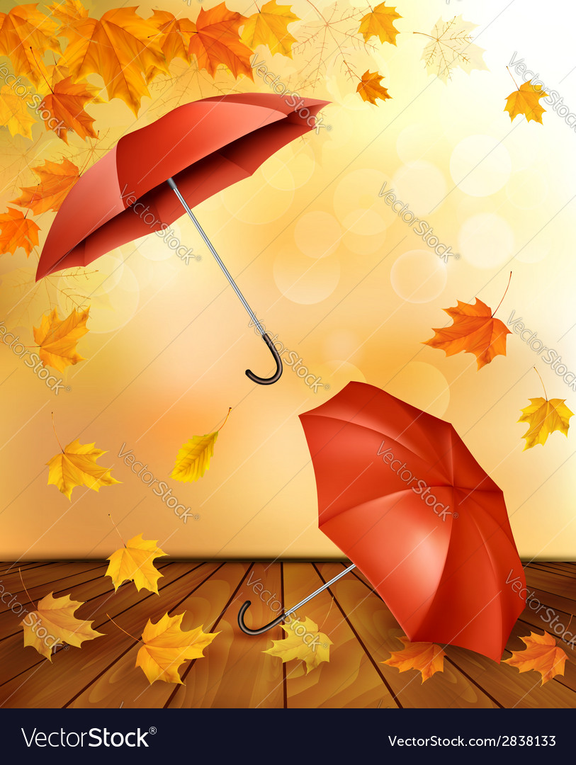 Autumn background with autumn leaves and orange vector | Price: 1 Credit (USD $1)