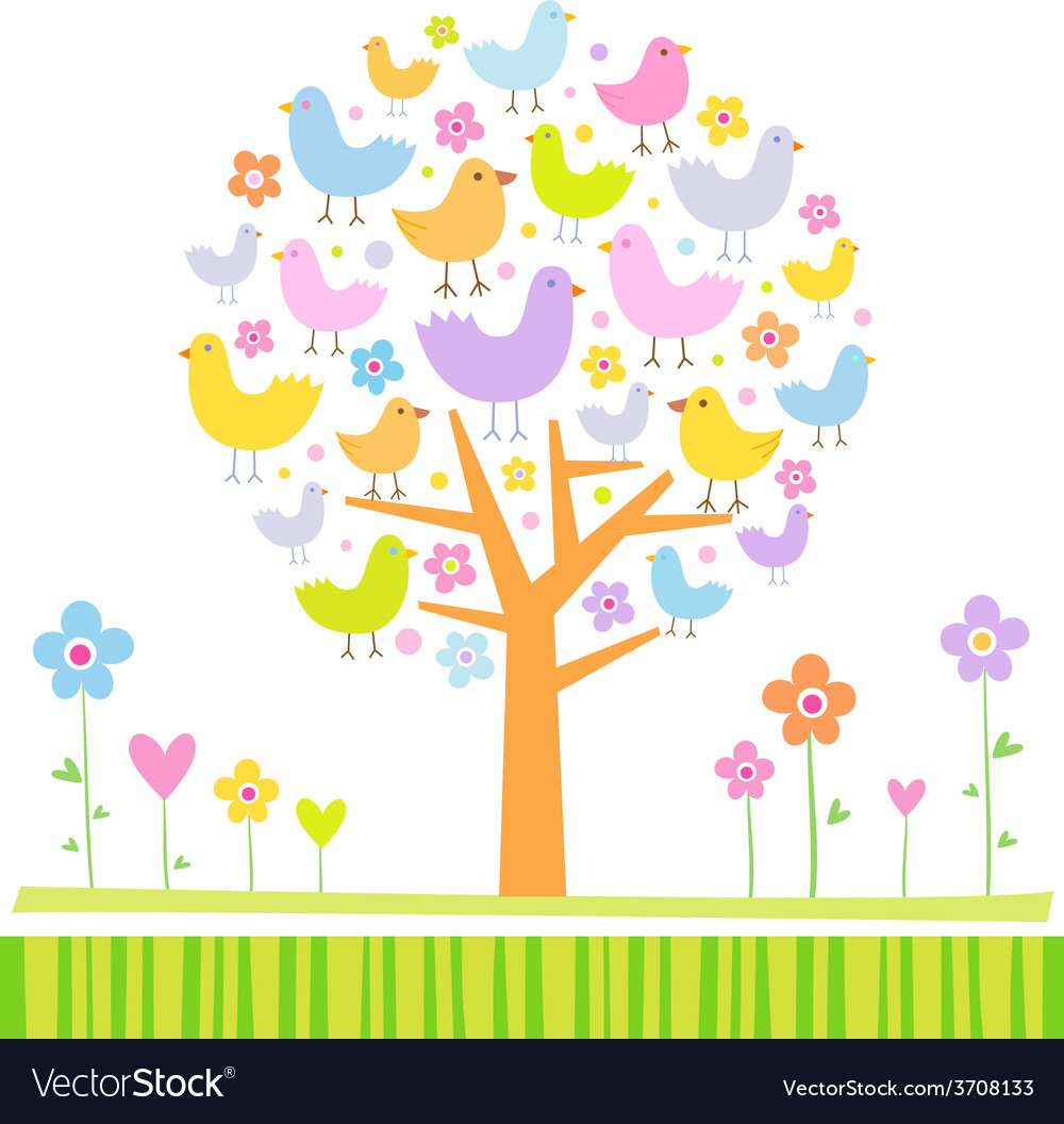 Birds on a tree vector | Price: 1 Credit (USD $1)