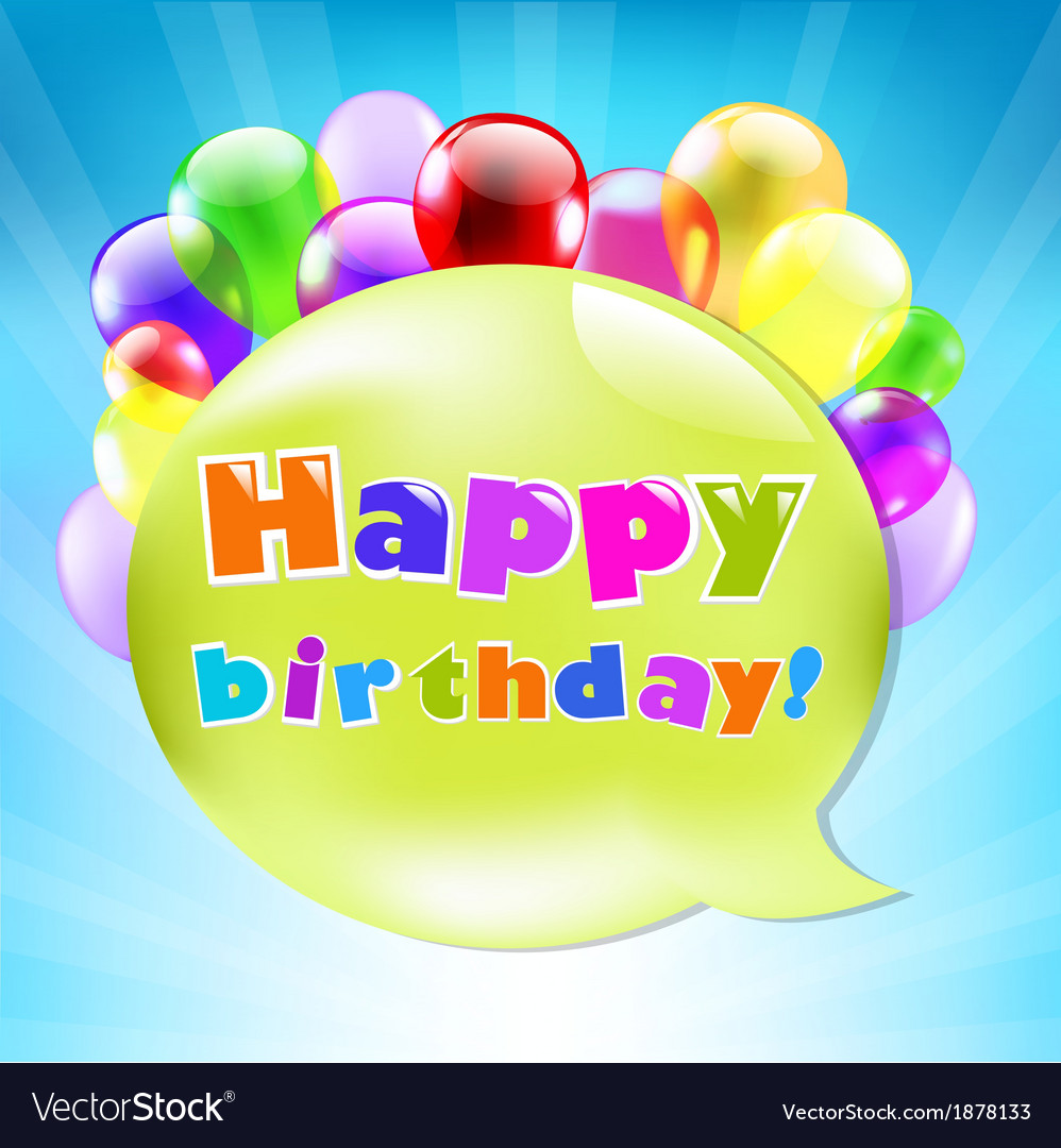 Birthday day card with colorful balloons vector | Price: 1 Credit (USD $1)