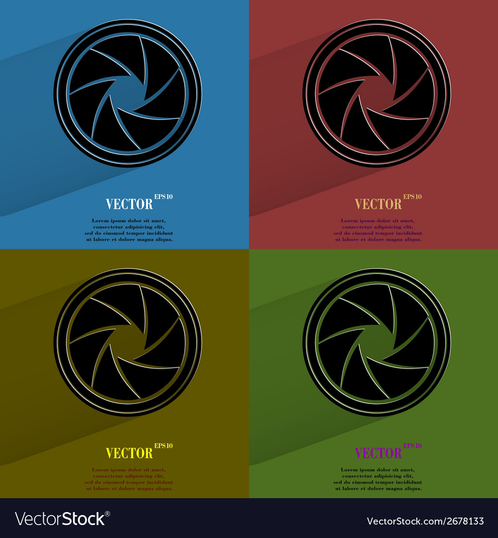 Color set photo camera diaphragm flat modern web vector | Price: 1 Credit (USD $1)