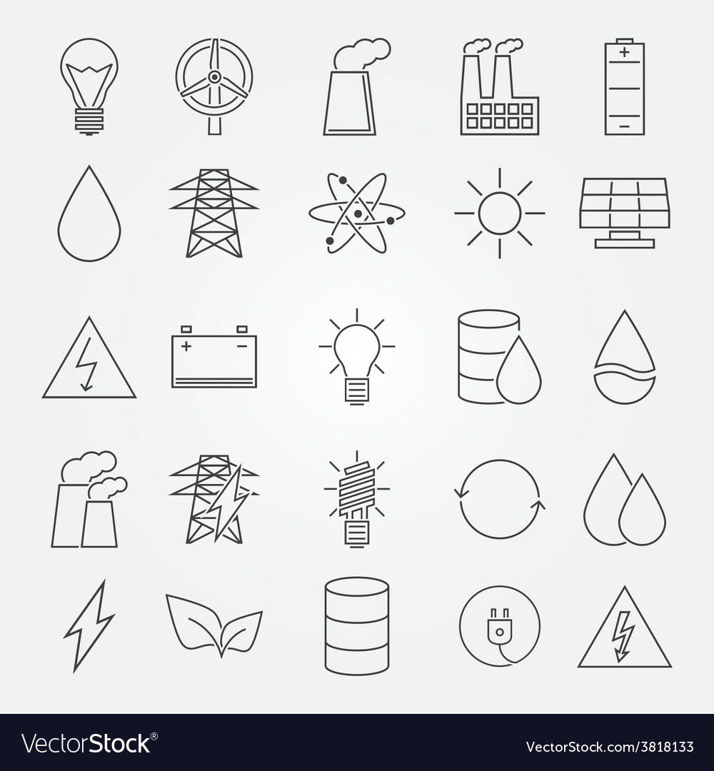 Energy and industrial icon set vector | Price: 1 Credit (USD $1)