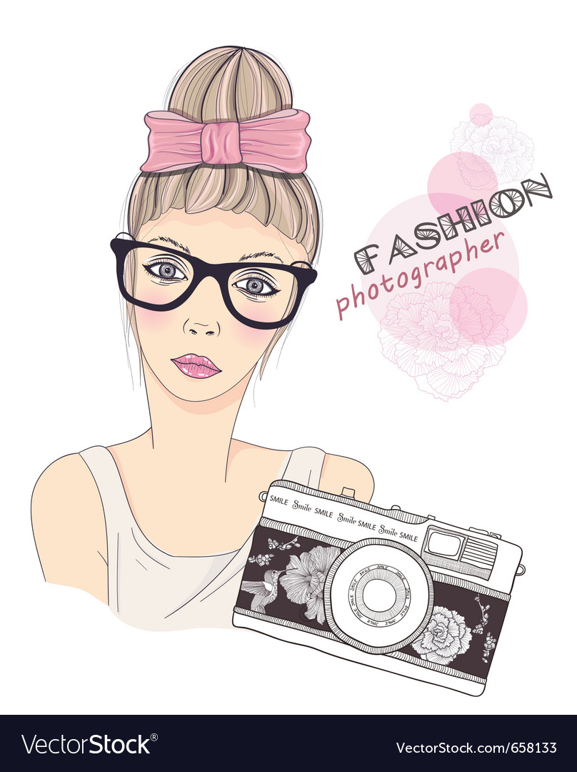 Fashion girl photographer vector | Price: 3 Credit (USD $3)
