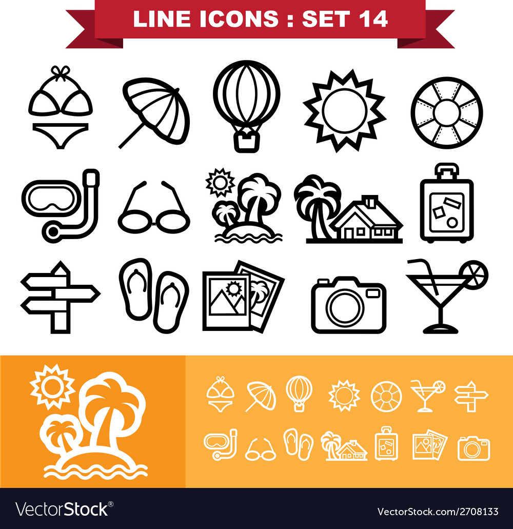 Line icons set 14 vector | Price: 1 Credit (USD $1)